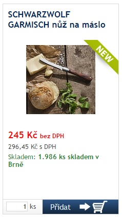 SCHWARZWOLF GARMISCH nůž na máslo - reklamní předměty Liberec