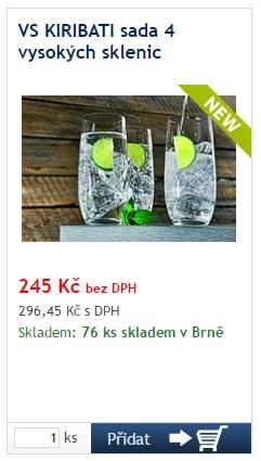 VS KIRIBATI sada 4 vysokých sklenic - reklamní předměty Liberec