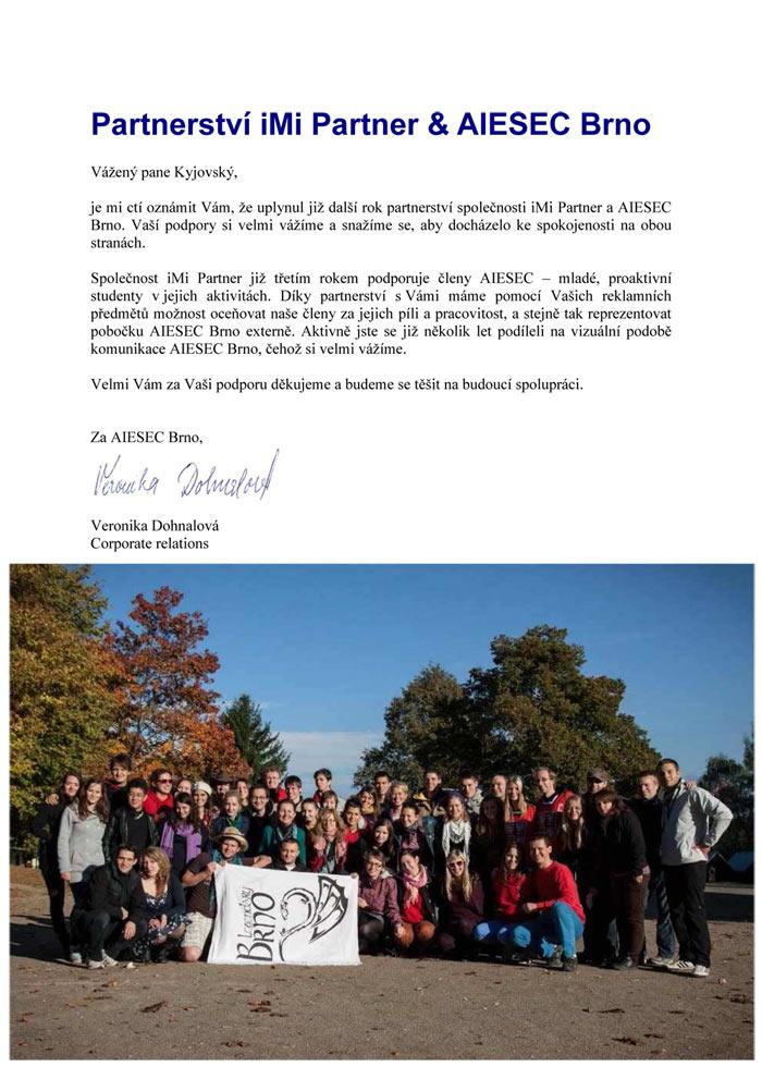 AISEC děkovný dopis